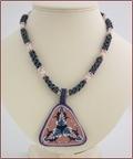 Porcelain Pendant on Beadwork Necklace (BW46)