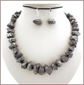 Titanium Raw Crystal Quartz Necklace and Earrings (WB29)