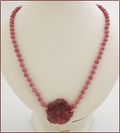 Dusky Pink Rhodonite Flower Pendant Necklace (CG64)