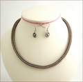 Beady Anguis Slinky Necklace & Earrings Set (BW51)