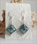 Steel Blue Czech Designer Lampwork Earrings (DDE19)