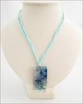 Sky Blue Sakura Agate Pendant on Silk (CGS02)