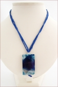Dark Blue Sakura Agate Pendant on Silk (CGS03)