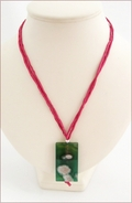 Green Sakura Agate on Magenta Silk Pendant (CGS06)