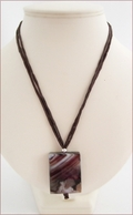 Dark Brown Sakura Agate Pendant on Silk Necklace (CGS07)