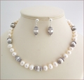 Baroque Pearls with Sterling Silver Knotted Necklace and Earrings Set (SM136)