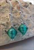 Teal Blue Murano Glass Earrings (DDE26)