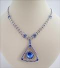 Saffie - Sapphire & Silver Beadwork Necklace (BB128)