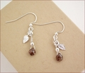 Smoky Quartz & Silver Leaves Earrings (DDE28)