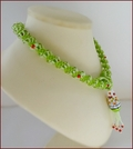 'Red Birds' Beadwork Pendant Necklace in Lime Green (BW137)