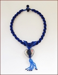 'Blue Heart' Beadwork & Lampwork Pendant Necklace (BW138)