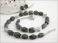 Vesuvianite and Karen Hill Tribe Silver Necklace and Earrings (SM22)