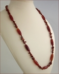 Suffolk Red - Agate and Jasper Long Necklace (LS89)
