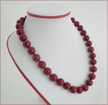 Dark Red Marble Quartz Necklace (LS85)