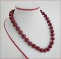 Dark Red Marble Quartz Necklace (LS85)