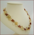 Citrine and Red Agate Knotted Necklace (D32)