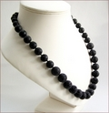 Black Lava Stone Knotted Necklace (SM134)