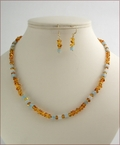 Amber and Amazonite Necklace & Earrings (D57)