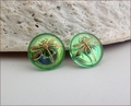 Reed Nymph Green Dragonfly Earrings (BWD03e)