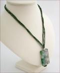 Olive Green Sakura Agate Pendant on Silk (CG08)