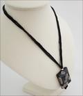 Black Sakura Agate Pendant on Silk Necklace (CGS12)