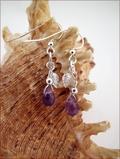 Amethyst and Silver Leaf Drop Earrings (DDE27)