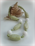 Lemon Jasper and White Jade Necklace (BH36)