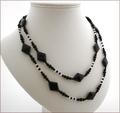 Super Long Black Agate and Crystal Quartz Necklace (SM100)