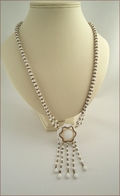 Charlotte White and Gold Dangles Necklace (BLBN35)