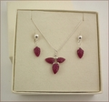 Ruby Leaf Necklace and Earrings Set  (SM74)