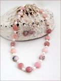 Pink Opal & Pearl Knotted Necklace & Earrings CG66