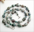 Natural Chrysocolla Knotted Necklace (SS111)