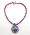 Dionysos Nymph Magenta/Teal Dragonfly Necklace (BWD06)