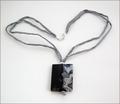 Grey Sakura Agate Pendant on Silk Necklace (CGS10)