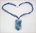 Blue with White Sakura Agate Pendant on Silk (CGS11)