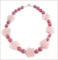 Rose Quartz Flowers with Rhodonite Knotted Necklace (CG68)