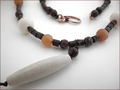Boho Chic Brown Snowflake Obsidian Pendant Necklace (BH90)