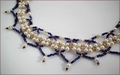 Cleo: Vintage Lapis Blue Seed Beads with Glass Pearls Necklace & Earrings Set (WB004)