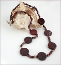 Brecciated Jasper Coin and Pebble Necklace (LS91)