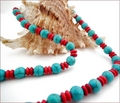 Red and Turquoise Howlite Necklace (BH103)