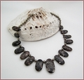Graduated Turritella Agate & Pyrite Knotted Necklace (LS103)
