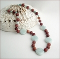 Amazonite and Matt Jasper Knotted Necklace (LS109)