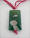 Green Sakura Agate on Magenta Silk Pendant (CGS06)