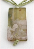 Light Green Sakura Agate Pendant on Silk (CG09)