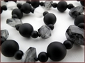 Tourmalinated Quartz & Black Onyx Necklace (SS102)