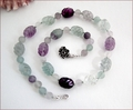 Carved Fluorite Knotted Necklace (CG67)