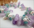 Three-strand Amethyst, Amazonite & Pearl Necklace (CG72)