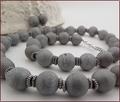 Silver Grey Druzy Agate Necklace & Earrings (SS107)