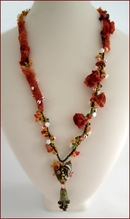 My Crazy Heart Lampwork and Mixed Media Necklace (BW129)
