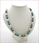Long Turquoise, Howlite and Red Jasper Necklace (BH80)